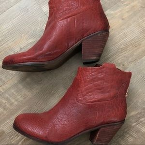 Sam Edelman Red Leather Booties 8.5